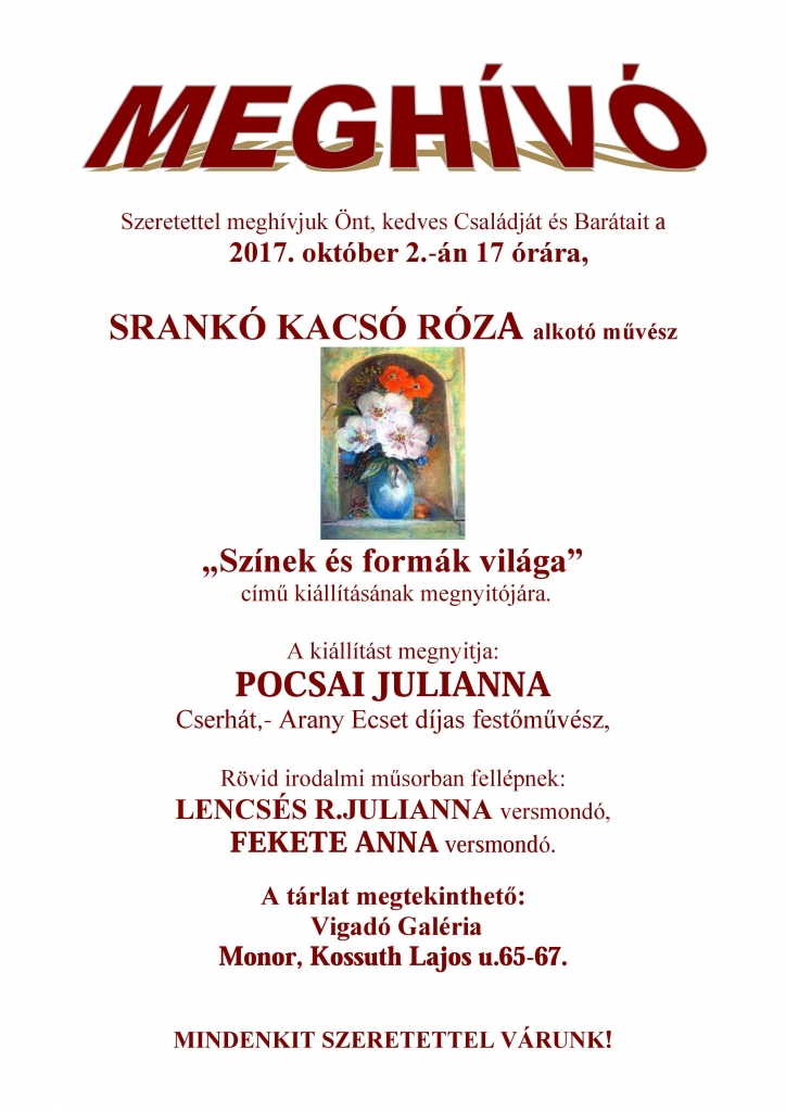 Srankó Kacsó Róza kiállításának megnyitója