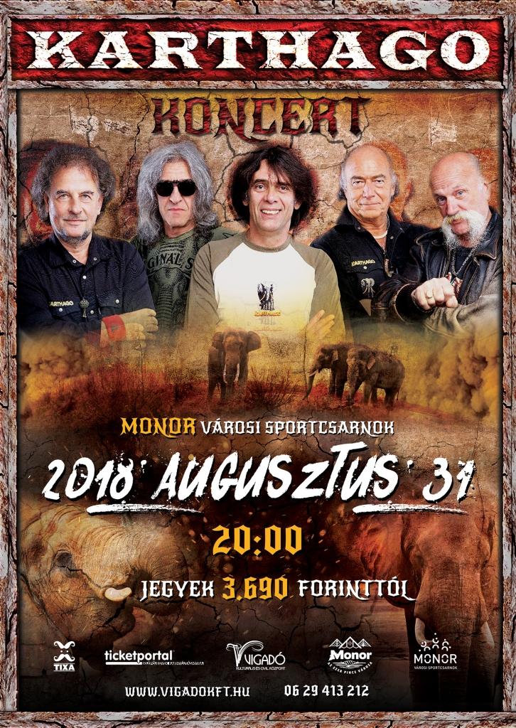 Augusztus végén Monorra érkezik a Karthago együttes!